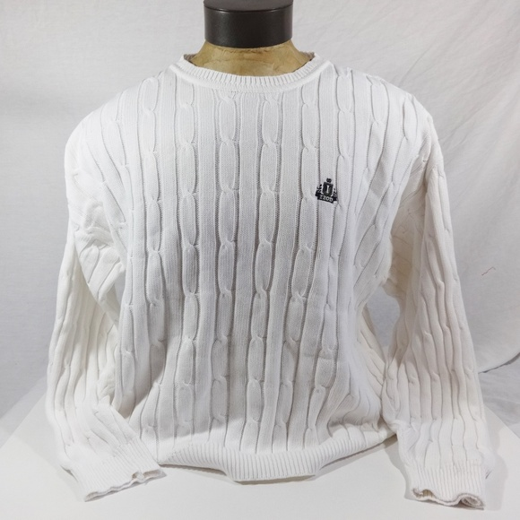 Izod Sweaters Mens White Cable Knit Sweater Size Large Poshmark